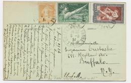 JEUX OLYMPIQUES 30C RARE +10C+ N°158 CARTE VILLENEUVE SUR YONNE 8.6.1924 POUR BUFFALO USA AU TARIF - 1921-1960: Modern Period