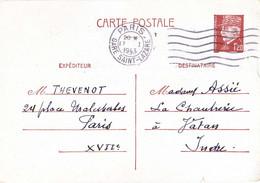 ENTIER CARTE POSTALE PETAIN 1f20 OMec FLIER PARIS GARE SAINT-LAZARE 6 LIGNES ONDULÉES Du 17-1-1943 - Cartes Postales Types Et TSC (avant 1995)