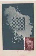 YUGOSLAVIA 1950  CHESS Olympics Maximum Card ,2 Din, And Commem Chess Postmark - Schach
