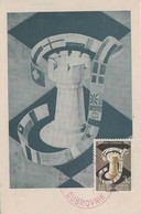YUGOSLAVIA 1950  CHESS Olympics Maximum Card ,3 Din, And Commem Chess Postmark - Schach