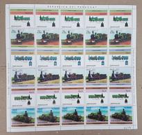 EC130 1984 PARAGUAY TRANSPORTATION TRAINS MICHEL 26 EU !! BIG SH FOLDED IN 2 MNH - Trains