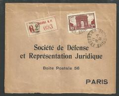 Angers , Arc De Triomphe N° 258 Seul Sur Lettre Recommandée Du 19 5 1934 - 1921-1960: Modern Tijdperk