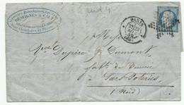 N°14 Etoile Pleine + Cad  Paris (60) 23 Sept. 59 Pour Sars Poteries - 1849-1876: Periodo Clásico