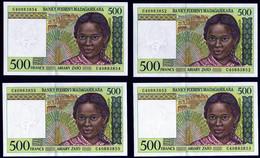 Madagascar 1994 500 Francs UNC Neuf Parfait état 7 Exemplaires Avec Numéros Qui Se Suivent  Excellent Prix - Madagascar