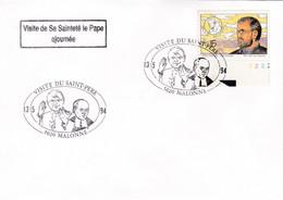 Enveloppe 2557 Bord De Feuille Numéroté Visite De Sa Sainteté Le Pape Ajournée Visite Du Saint-Père Malonne - Covers & Documents