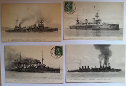Lot De 12 Cartes Postales Marine De Guerre Mirabeau / Ernest Renan / Justice / Suffren ..... - Guerra