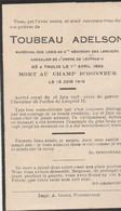 ABL, Toubeau , Thulin 1892 Pour La Patrie 1918 - Todesanzeige