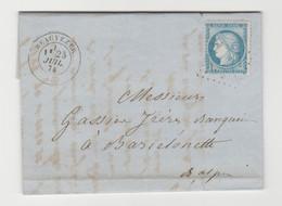 BASSES ALPES: BEAUVEZER, GC 4417 + CàD Type 17 / LAC De 1874 Pour Barcelonnette IND 18 - 1849-1876: Periodo Clásico
