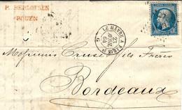 1864- Lettre De Rouen ( Seine Maritime ) Cad  AMb. LE Havre A Paris 1)° Jour  Affr. N°22 Oblit; Losange H P 1° - Correo Ferroviario