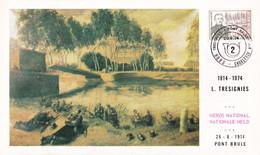35 1726 Pont Brulé CS FDC  Carte Souvenir Belgique    Caporal Léon Trésignies (1886 1914)  6000 Charleroi 28-9-1974 - Cartoline Commemorative