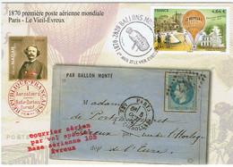"""France / 2020 / Ballons Montés / 1870, 1° Poste Aérienne Mondiale / Griffe Rouge """" Courrier Spécial """" - Primeros Vuelos"""