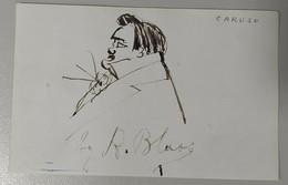 RARE Portrait Enrico CARUSO DESSIN ORIGINAL Lavis Signé Robert Blass C.1905 - Dessins