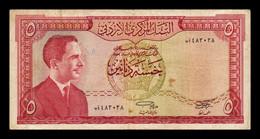Jordania Jordan 5 Dinars King Hussein II L. 1959 (1965) Pick 11a BC F - Jordan