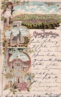 Gruss Aus Ober-Ingelheim. Reste Der Feste Karls Des Großen, Rathaus, Ev. Kirche, Waldeck. 1898. - Ingelheim