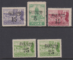 1919. FIUME. Interallied Occupation. FRANCO Surcharge Complete Set With 5 Stamps. Hin... () - JF418650 - Fiume