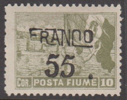 1919. FIUME. Interallied Occupation. FRANCO Surcharge 55 On 10 COR. Hinged.  () - JF418653 - Fiume