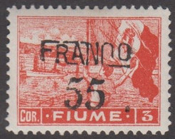 1919. FIUME. Interallied Occupation. FRANCO Surcharge 55 On 3 COR. Hinged.  () - JF418656 - Fiume