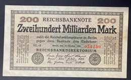 200 Milliarden Mark Reichsbanknote Berlin 15 October 1923 - 200 Milliarden Mark