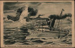 Bäderdampfer Königin Luise Beim Minenlegen, Kreuzer Amphion, Deutsche Kaiserliche Marine, Feldpostkarte, WKI, Militär - War 1914-18