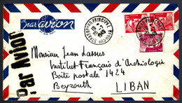 STRASBOURG 1949 POUR BEYROUTH - PAR AVION - ARCHÉOLOGIE... - Cartas