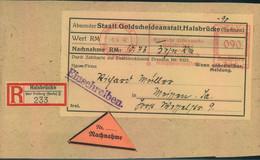 """1942, Päckchen Per Einschreiben Mit Nachnahme Frankiert Mit 90 Pfg. Freistempel """"HALSBRÜCKE über Freiberg (Sachs. - Covers"""