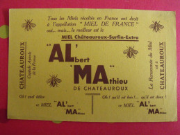 Buvard ALMA. Albert Mathieu, Miel De France à Chateauroux. Vers 1950 - Food