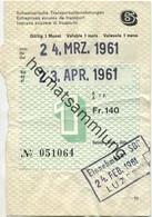 Schweiz - SBB - Schweizerische Transportunternehmungen - GA Gültig 1 Monat März April 1961 Fr. 140 - Einnehmerei Luzern - Europe