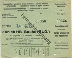 Schweiz - Fahrschein Zu Familienbilett - Zürich HB Buchs (ST.G) Oder Umgekehrt - Fahrschein 1. Cl. 1961 - Europe