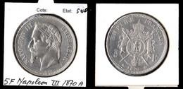 France  Monnaie 5 Frs NAPOLEN III 1870 A  TTB - J. 5 Francs