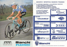 CARTE CYCLISME ALF SEGERSALL SIGNEE TEAM BIANCHI 1983 - Cycling