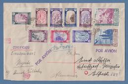 Spanien 1940 Pilar Mi.-Nr. 874-83 Kpl. Auf Zens. R-Express-Brief Nach Stuttgart - Unclassified