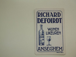 Speelkaart ( 0513 ) Dos D' Une Carte à Jouer - Wijn Vin Likeur Liqueur  Distillerie Stokerij  -  Anzegem - Barajas De Naipe