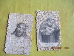 1887 Lot De 2 Canivet Vierge Christ - Andachtsbilder