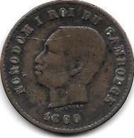 *Cambodia 5 Centimes 1860  Km  M2  Vf - Cambodia
