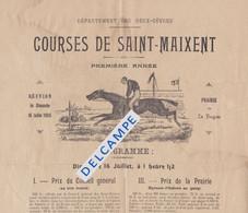 79 - SAINT MAIXENT- Programme Courses De Saint-Maixent Steeple-Chase Militaire 1ère Réunion Du Dimanche 16 Juillet 1905 - Programma's