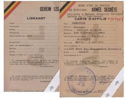 Carte De Membre Armée Secrète   Résistance    Mort Pour La Patrie 1944 - Documenten
