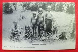 Colombo Ceylan Singhalese Children Old Postcard Carte Postale Vers 1900 Dos Scanné éditeur WLH Skeen N°11 - Sri Lanka (Ceylon)