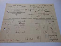 T633 / Facture CONFECTION TISSUS BONNETERIE ET MERCERIE EN GROS - VEUVE P. SIMON à LISIEUX Calvados - Invoices