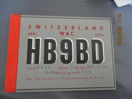 Carte Qsl Switzerland 1937 Suisse  Reinhard Lutz Zurich Hb 9 Bd - Amateurfunk