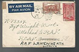 58278) Canada Military Mail St George Postmark Cancel 1942 RCAF Overseas Air Mail - Cartas