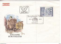 Ö 1976 - Mi:1507 (1) , FDC - 200 Jahre Burgtheater , Wien , SST 1150 Wien - 1971-80 Covers