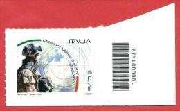 ITALIA REPUBBLICA SINGOLO BARRE INF - 2011 - Missioni Militari Italiane All'estero - € 0,75 - S. 3283 - Bar Codes