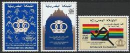 """Maroc YT 950 à 952 """" Jeux Méditerranéens """" 1983 Neuf** - Marokko (1956-...)"""