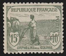 France N°150, Orphelins 15c+10c Gris-vert, Neuf ** Sans Charnière COTE 125 € TB - Ungebraucht