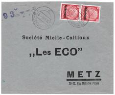 Moselle (Fontoy) L 2x 12pf  Obl. FENSTCH A - 1941 - Brieven En Documenten