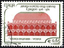 ITALIA, ITALY, ITALIE, ANDREA PALLADIO, 2008, 0,65 €., FRANCOBOLLO USATO Mi:IT 3243, Scott:IT 2874 - 2001-10: Usados