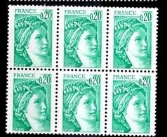 France Sabine YT N° 1967b Variété Sans Phosphore En Bloc De 6 Neufs ** MNH. Signés Calves. TB. A Saisir! - Varieties: 1980-89 Mint/hinged