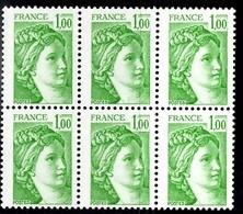 France Sabine YT N° 1973b Variété Sans Phosphore En Bloc De 6 Neufs ** MNH. Signés Calves. TB. A Saisir! - Varieties: 1980-89 Mint/hinged