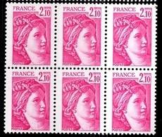 France Sabine YT N° 1978b Variété Sans Phosphore En Bloc De 6 Neufs ** MNH. Signés Calves. TB. A Saisir! - Varieties: 1980-89 Mint/hinged