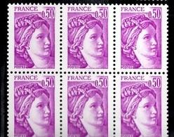 France Sabine YT N° 1969b Variété Sans Phosphore En Bloc De 6 Neufs ** MNH. Signés Calves. TB. A Saisir! - Varieties: 1980-89 Mint/hinged